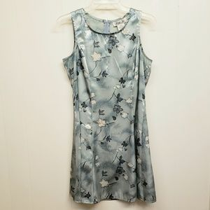 Like New! Silky Silver Dress w/ Botanical Print